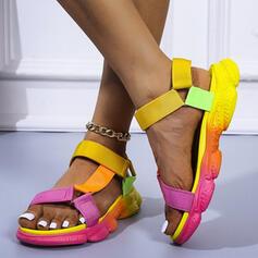 Kvinder PU Flad Hæl sandaler Fladsko Platform Kigge Tå med Udhul Velcro sko