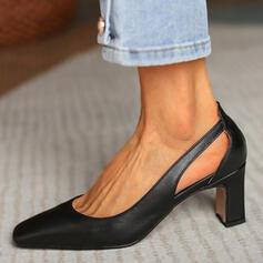 婦人向け PU チャンクヒール ポンプ かかと とともに くり抜いた ソリッドカラー 靴