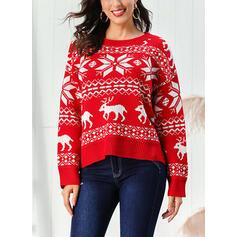 Potisk Copánkový vzor Hrubá pletenina Kulatý výtřih Neformální Vánoční Ošklivý vánoční svetr