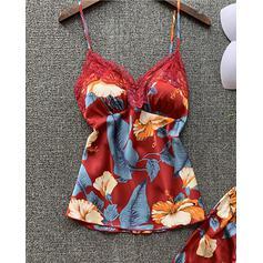 Cuello en V Correa Sin mangas Floral Impresión Casual De moda Cami y conjuntos cortos