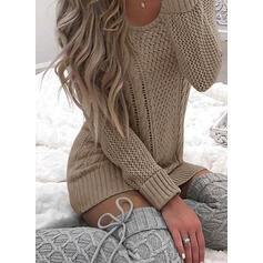 Solido Cavo Knit Girocollo Casual Abito maglione