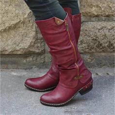 Pentru Femei PU Toc gros Cizme de Călărit Deget rotund cu Fermoar Splice Color pantofi