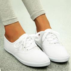 Kvinder Lærred Flad Hæl Fladsko Round Toe espadrille med Blondér Solid Color sko