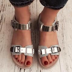 De mujer PU Tacón plano Sandalias Encaje con Hebilla zapatos