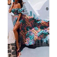 Nadrukowana Krótkie rękawy W kształcie litery A Casual/Wakacyjna Maxi Sukienki