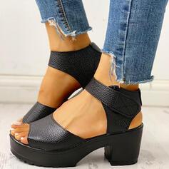 De mujer PU Tacón ancho Sandalias Encaje con Velcro zapatos