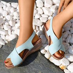 De mujer PU Tipo de tacón Sandalias Encaje Pantuflas con Vendaje Cruzado zapatos