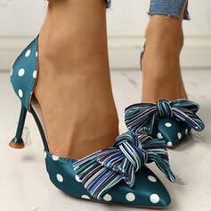 Mulheres PU Salto baixo Bombas Dedo pontudo com Bowknot sapatos