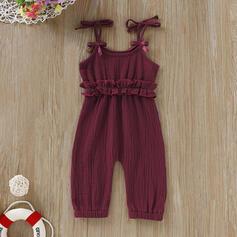 bébé Plissé Couleur Unie Coton Pantalon
