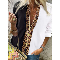 Blok Kolorów lampart Klapa Długie rękawy Casual Bluski koszulowe