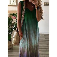 Tie Dye Sin mangas Tendencia Tanque Casual/Vacaciones Maxi Vestidos