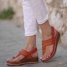 De mujer PU Tipo de tacón Sandalias Chancletas con Color sólido zapatos