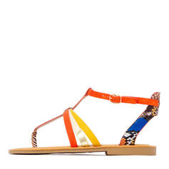 De mujer PU Tacón plano Sandalias Planos Encaje Chancletas con Hebilla Material Block zapatos