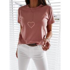 Print Hjärta Round Neck Korta ärmar Fritids T-shirts