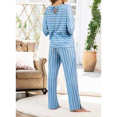 Poliestere Stampa A righe Patchwork Set pigiama