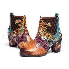 Pentru Femei Imitaţie de Piele Toc gros Botine Deget rotund cu Květinový pantofi