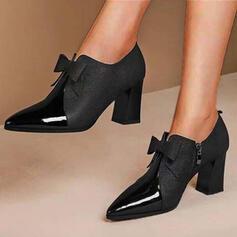 De mujer PU Tacón ancho Salón Tacones con Bowknot Color sólido zapatos