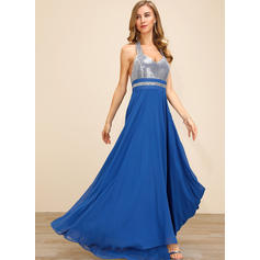 Sequins/Solid/Backless Sleeveless A-line Skater Sexy/Party Maxi Dresses