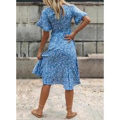 Nadrukowana/Kwiatowy Krótkie rękawy W kształcie litery A Asymetryczna Casual Łyżwiaż Sukienki