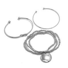 Più Livelli nodo lega Perline con Moneta Donna Bracciali 3 pezzi