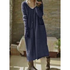 Solid Pocket V-Neck Casual Long Sweater Dress