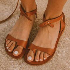 De mujer PU Tacón plano Sandalias Anillo del dedo del pie con Agujereado Cruzado zapatos