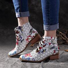 De mujer PU Tacón plano Planos Cerrados Botas Botas longitud media con Hebilla Cremallera Cordones zapatos