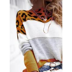 Цветной блок леопард Шею Повседневная Свитера