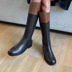 婦人向け 人形 チャンクヒール とともに ジッパー スプライスカラー 靴