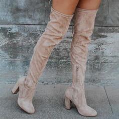 婦人向け スエード チャンクヒール ブーツ とともに ジッパー ソリッドカラー 靴