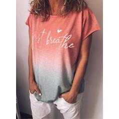 Nadruk Figura Gradient Serce Okrągły dekolt Krótkie rękawy Casual T-shirty