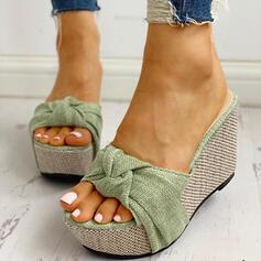 De mujer PU Tipo de tacón Sandalias Encaje Pantuflas con Bowknot zapatos