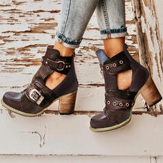 Vrouwen PU Chunky Heel Pumps Closed Toe Laarzen Martin Boots met Klinknagel Gesp schoenen