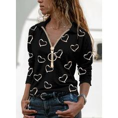 Stampa Cuore Risvolto Maniche lunghe Casuale Camicie