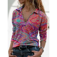 Stampa Risvolto Maniche lunghe Casuale Camicie