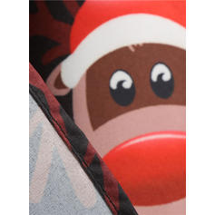 Impresión/Estampado Animal Manga Larga Acampanado Hasta la Rodilla Vintage/Navidad/Fiesta/Elegante Patinador Vestidos