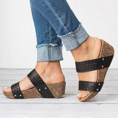 PU Tipo de tacón Sandalias Plataforma Cuñas Encaje Pantuflas Tacones con Otros zapatos