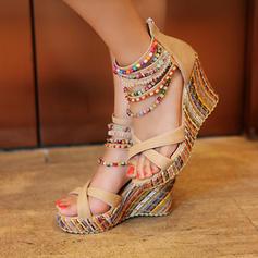 De mujer PU Tipo de tacón Sandalias Plataforma Cuñas Encaje con Cremallera zapatos
