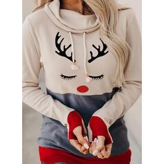 Nyomtatás Színblokk Dlouhé rukávy Vánoční mikina