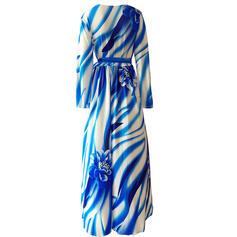 Duży rozmiar Nadruk Długie rękawy Sukienka Trapezowa Maxi Nieformalny Wakacyjna Sukienka
