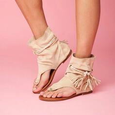 De mujer Cuero Tacón plano Sandalias con Borla zapatos