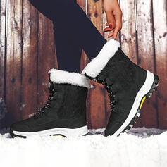 Dámské Tkanina Placatý podpatek Boty do sněhu Kolem špičky Zimní obuv S Šněrovací Splice Color obuv