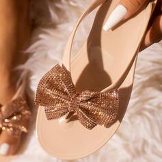 Επίπεδη φτέρνα Σανδάλια Ανοιχτά σανδάλια toe Με Τεχνητό διαμάντι Πούλια παπούτσια