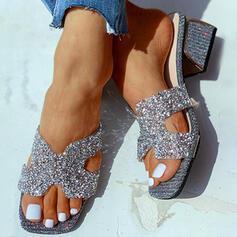 De mujer PU Tacón ancho Sandalias Cuñas Encaje Pantuflas con Rhinestone zapatos
