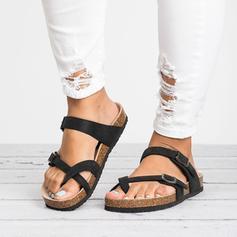 De mujer PU Tacón plano Sandalias Planos Chancletas Pantuflas con Hebilla zapatos