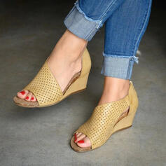 Women's PU Wedge Heel Sandals Wedges Peep Toe Heels With Zipper Hollow-out shoes