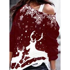 Stampato Animale One Shoulder Maniche lunghe Felpa natalizia