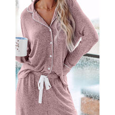 Cuello de camisa Manga Larga Color sólido Estilo clásico Conjuntos de pijamas