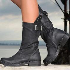 De mujer PU Tacón plano Planos Cerrados Botas Botas longitud media con Hebilla Cremallera zapatos