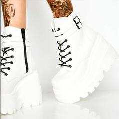 Dla kobiet PU Obcas Koturnowy Zakryte Palce Kozaki Martin Buty Round Toe Z Klamra Sznurowanie obuwie
